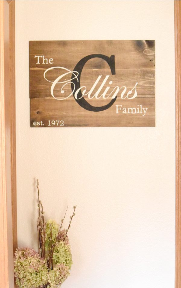 stained wooden sign