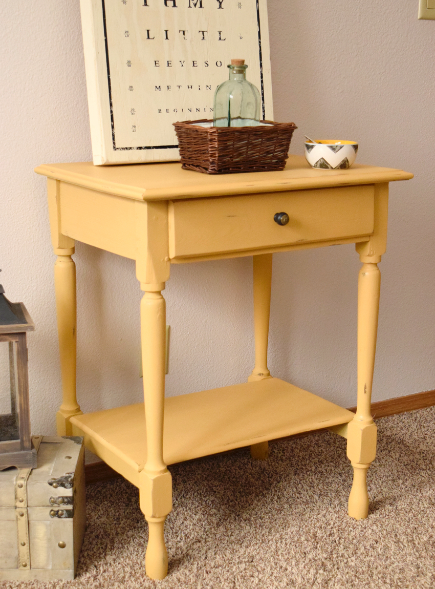 Distressed coffee table timeless creations llc for Yellow painted table