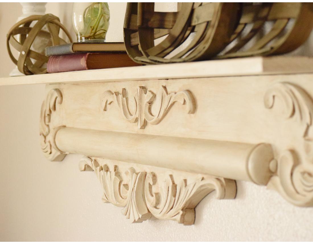 vintage pediment shelf makeover
