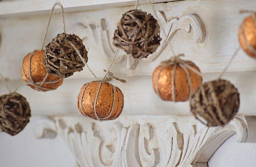 DIY a faux pumpkin garland using glitter tape! | Timeless Creations, LLC