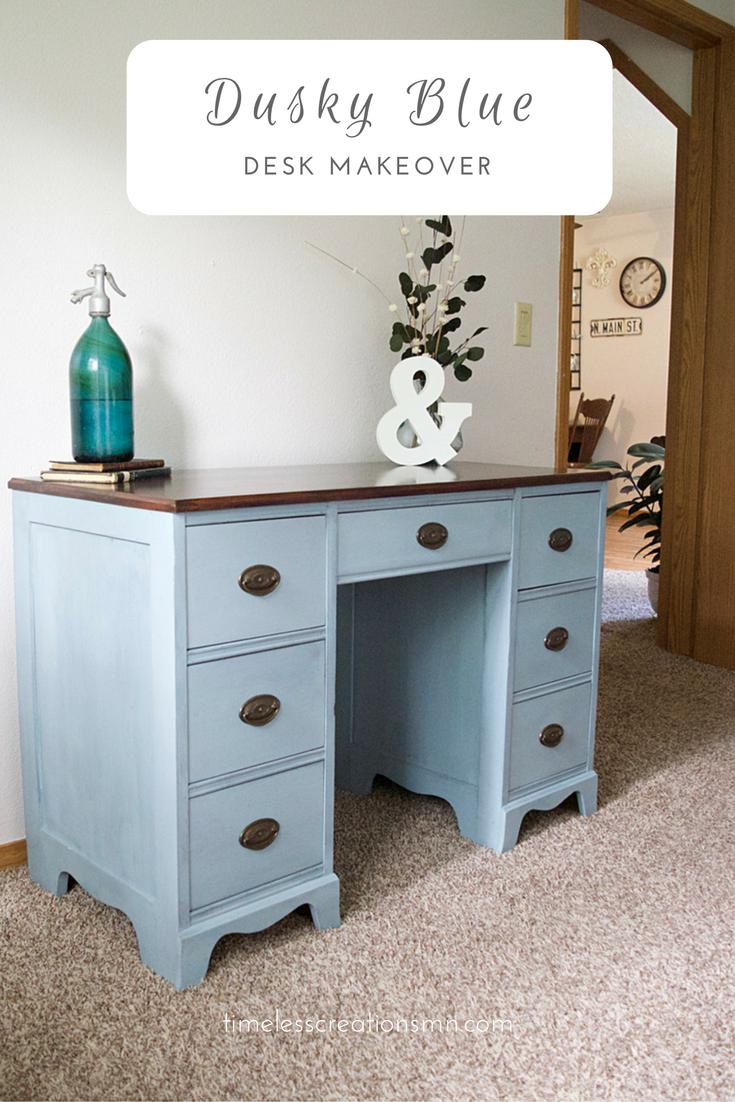 Dusky Blue Desk Makeover   Timeless Creations, LLC