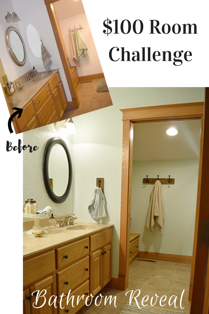 Bathroom Makeover Reveal: $100 Room Challenge - Timeless Creations, LLC