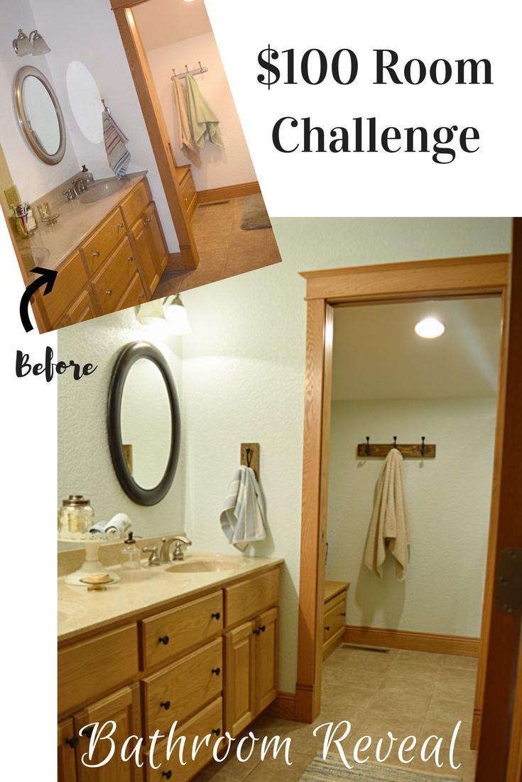 Bathroom Makeover Reveal: $100 Room Challenge - Timeless Creations, LLC