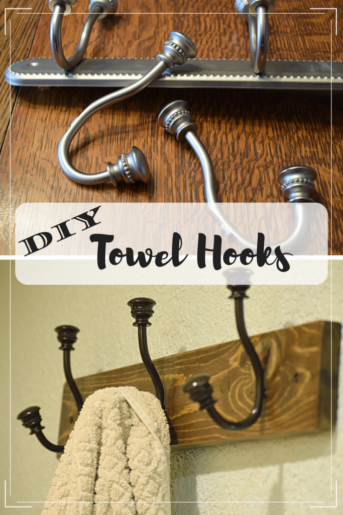 DIY bathroom shelf & towel hooks