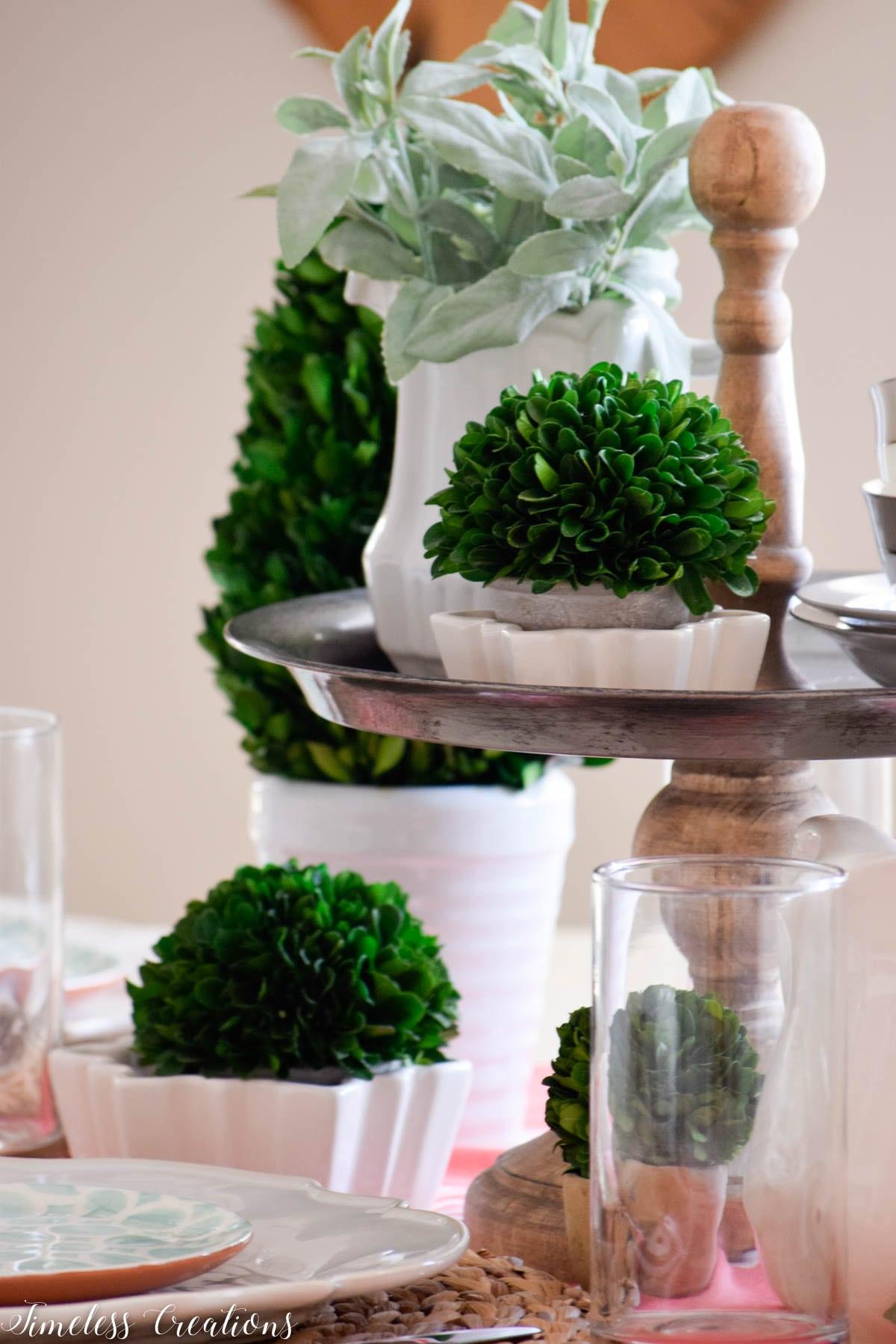 Boxwood Spring Tablescape: Spring Festival Blog Hop 3