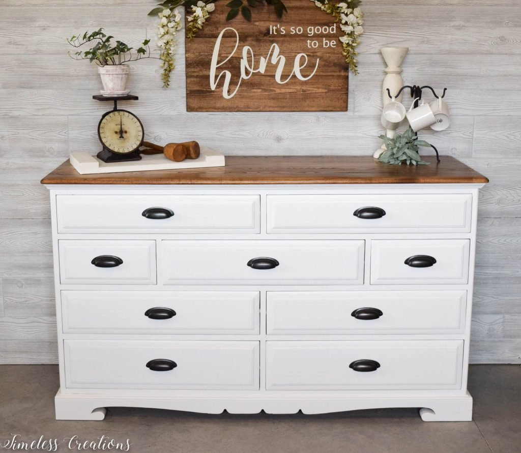The Epitome of Farmhouse Style : White and Wood Dresser 2
