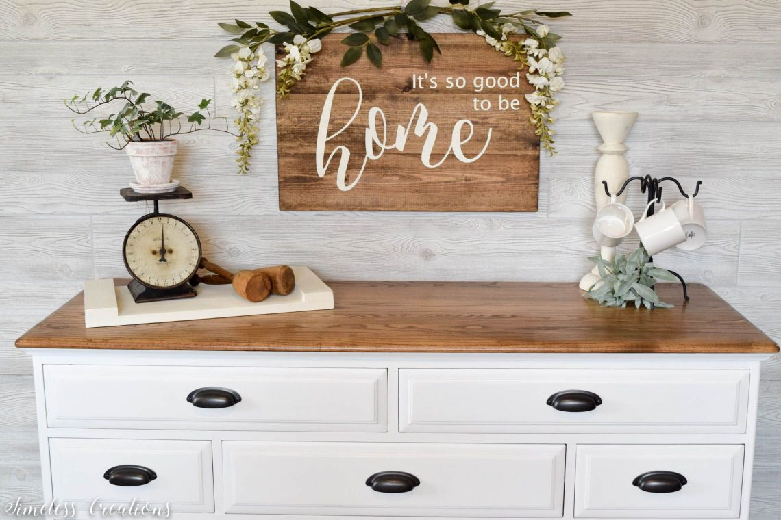 The Epitome of Farmhouse Style : White and Wood Dresser 1
