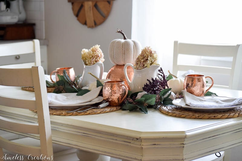 Maroon and Copper Fall Tablescape 1