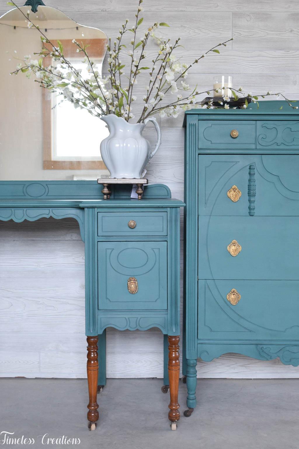An Antique Vanity and Dresser Set 1