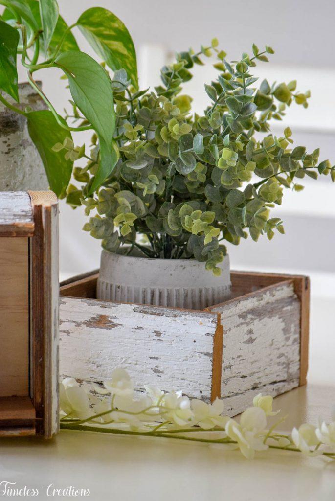 DIY Chippy White Planter Boxes 20