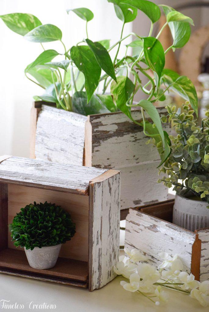 DIY Chippy White Planter Boxes 17
