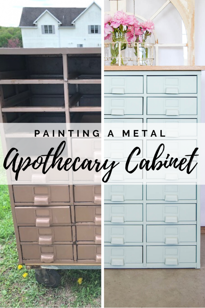 Painting a Metal Apothecary Cabinet