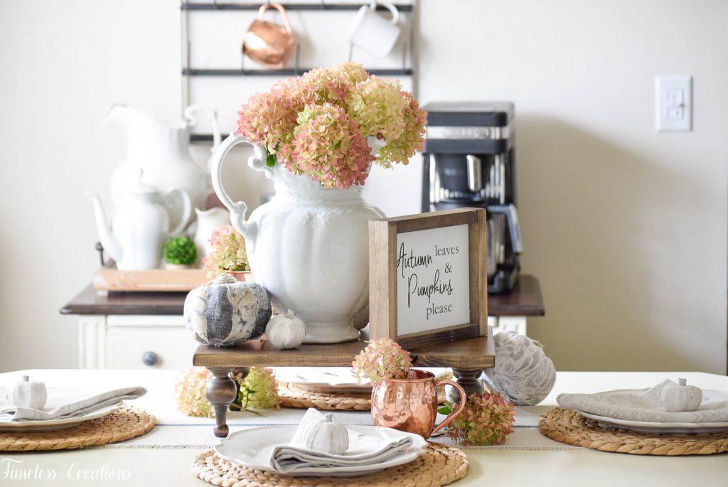 Miraculous A Fall Hydrangea Tablescape Timeless Creations Llc Short Links Chair Design For Home Short Linksinfo