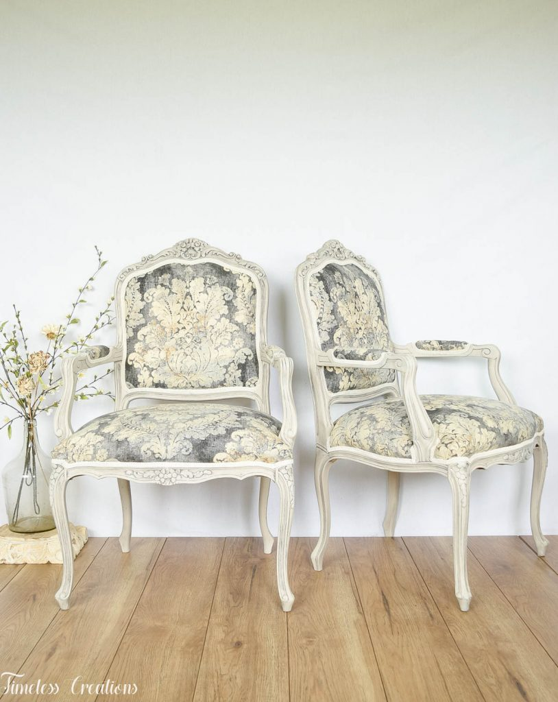 Upholstered French Chairs and Matching Washstand - Country Chic Paint Challenge 16