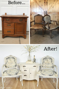 Upholstered French Chairs and Matching Washstand - Country Chic Paint Challenge 19
