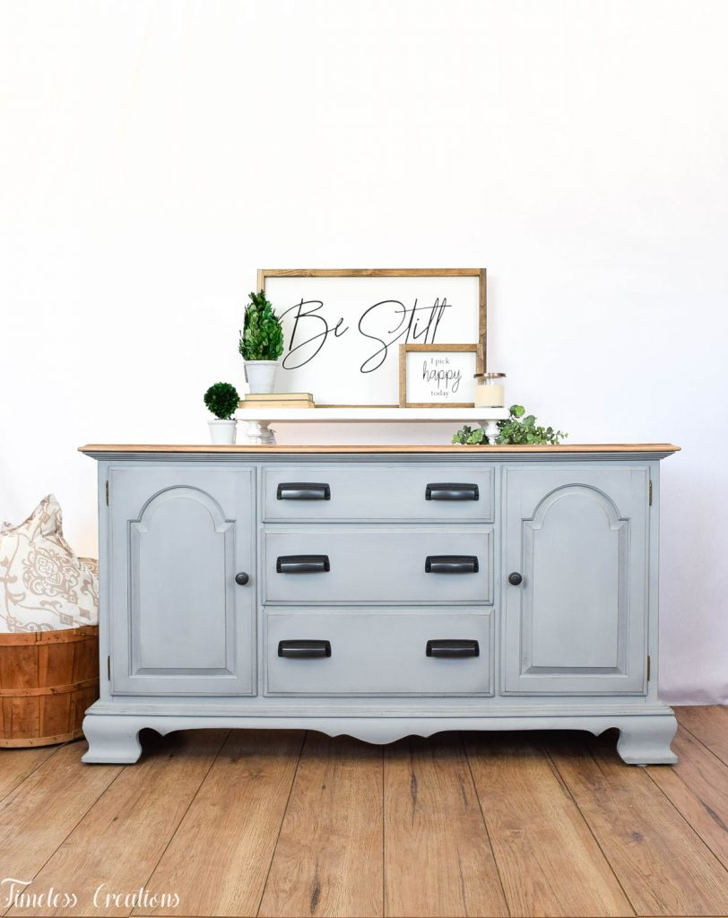 Gray-Blue Buffet with Country Chic Paint 9