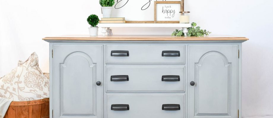 Gray-Blue Buffet with Country Chic Paint
