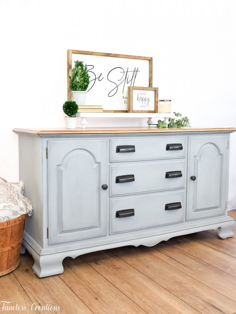 Gray-Blue Buffet with Country Chic Paint 10