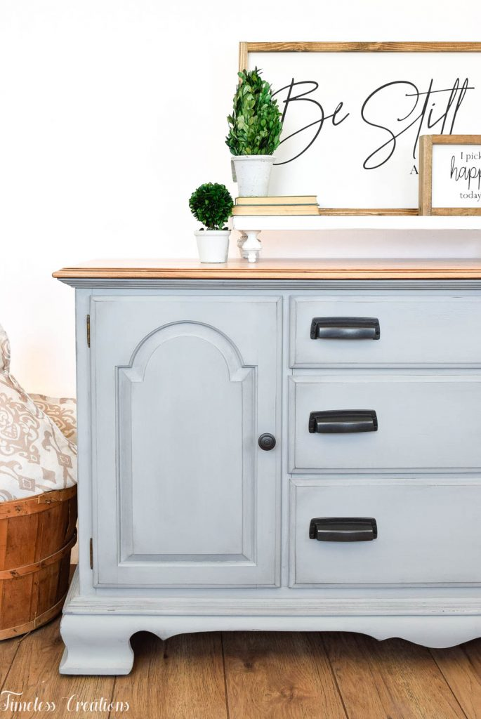Gray-Blue Buffet with Country Chic Paint 2