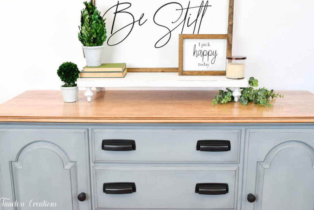 Gray-Blue Buffet with Country Chic Paint 4