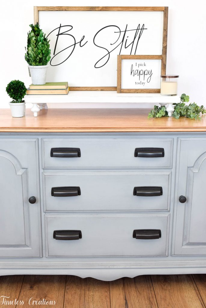 Gray-Blue Buffet with Country Chic Paint 6