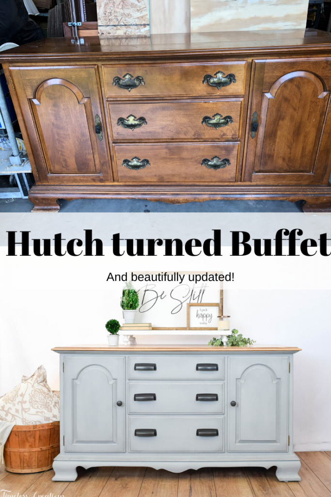 Gray-Blue Buffet with Country Chic Paint 14