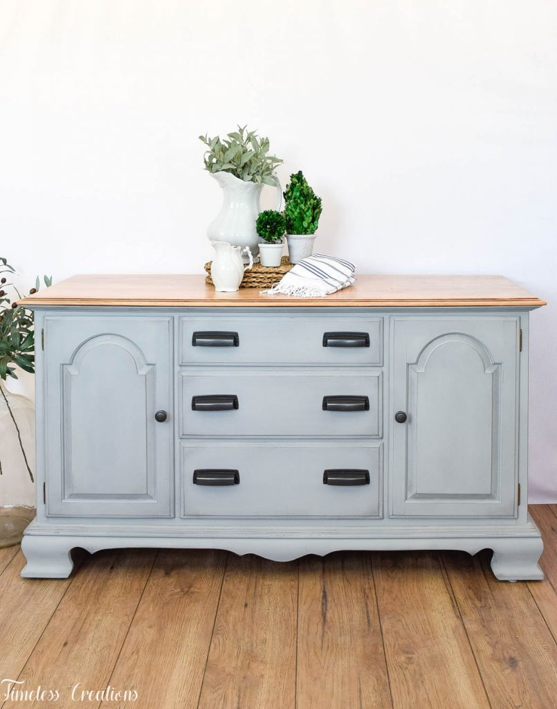 Gray-Blue Buffet with Country Chic Paint 11